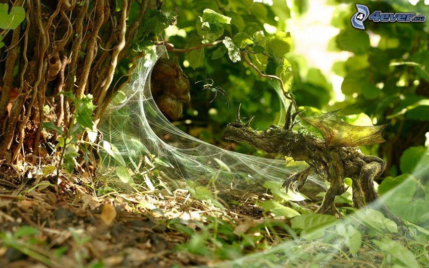 Spinne, Drache, Spinnennetz