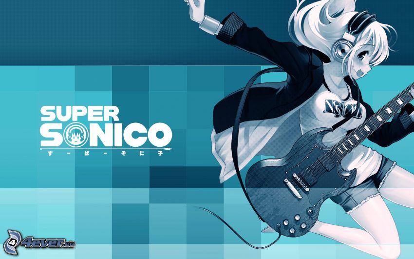 Super Sonico, Anime Mädchen, Mädchen mit Gitarre