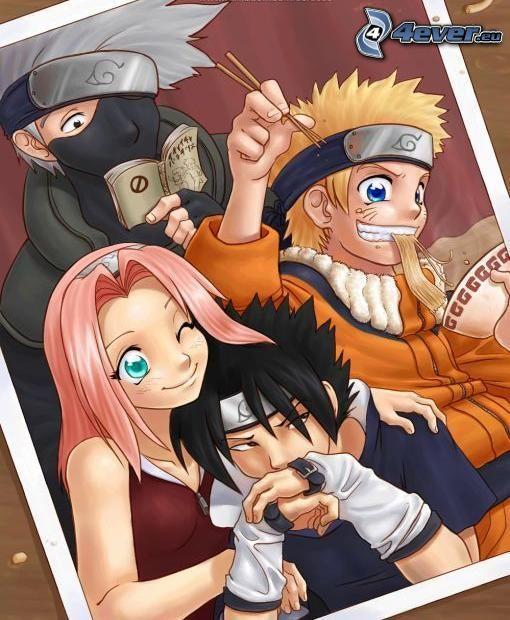 Team7, Naruto, Sakura, Sasuke, Kakashi, Anime-Charaktere