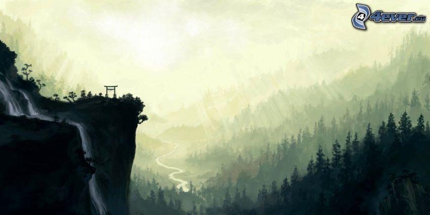 Aussicht auf die Landschaft, Wasserfall, Klippe