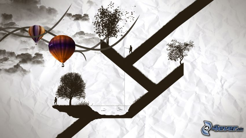 Bäume, Silhouetten von Menschen, Luftballons
