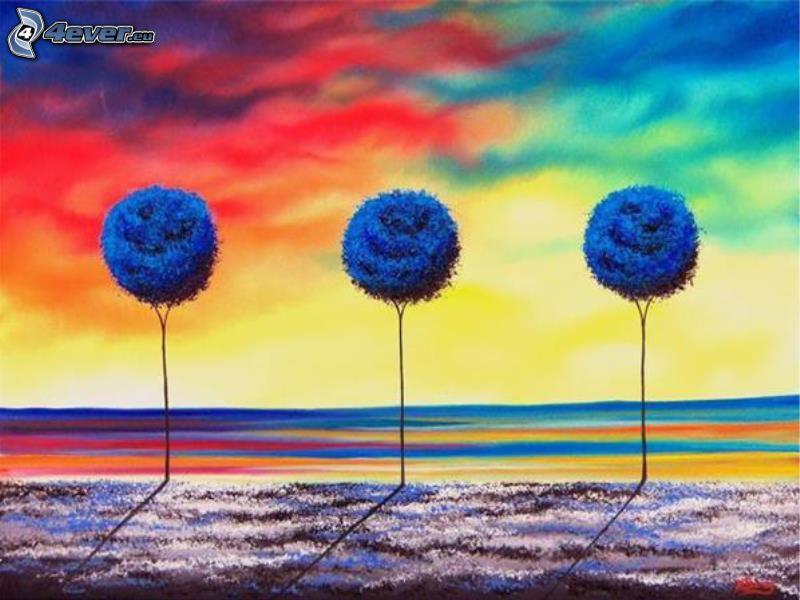 Bäume, Wiesen, farbiger Himmel