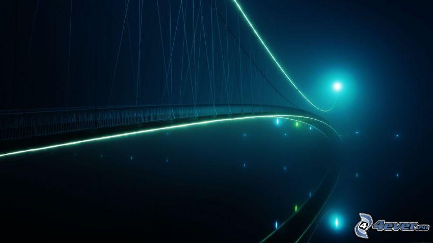 beleuchtete Brücke, Nacht