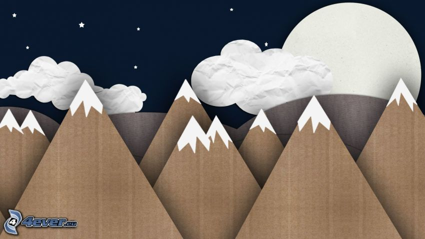 Berge, Wolken, Mond, Nacht