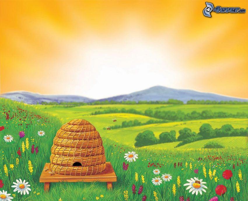 Bienenstock, Wiese, Blumen