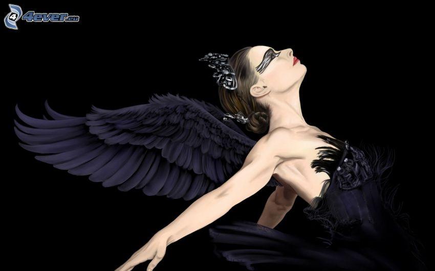 Black Swan, gezeichnete Frau
