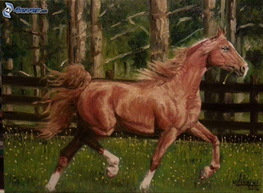 braunes Pferd, Bild, gezeichnetes Pferd