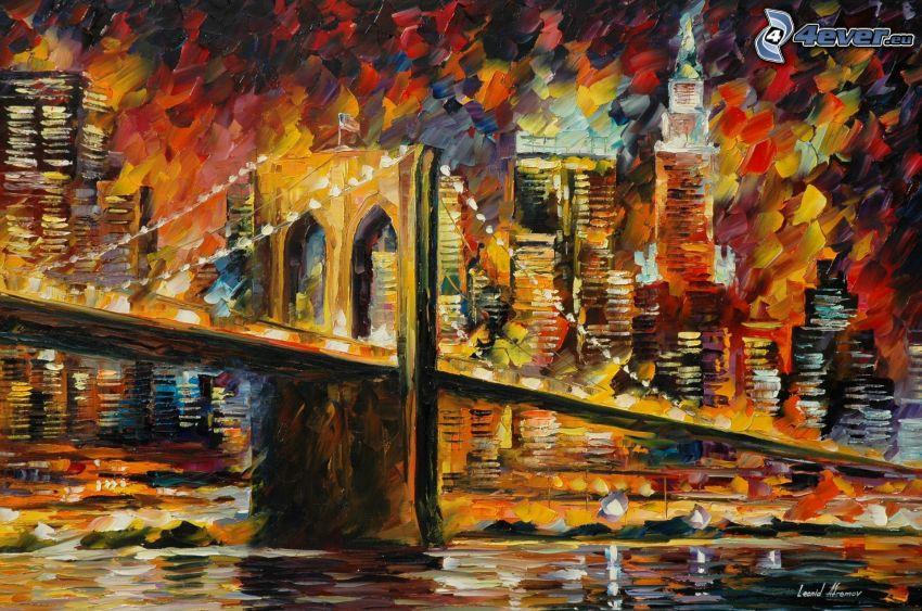 Brooklyn Bridge, City, Ölgemälde, Bild