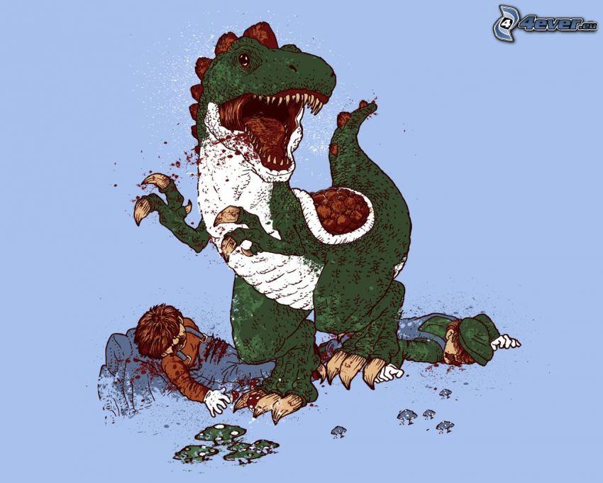 cartoon Drachen, eingezeichneter Kerl