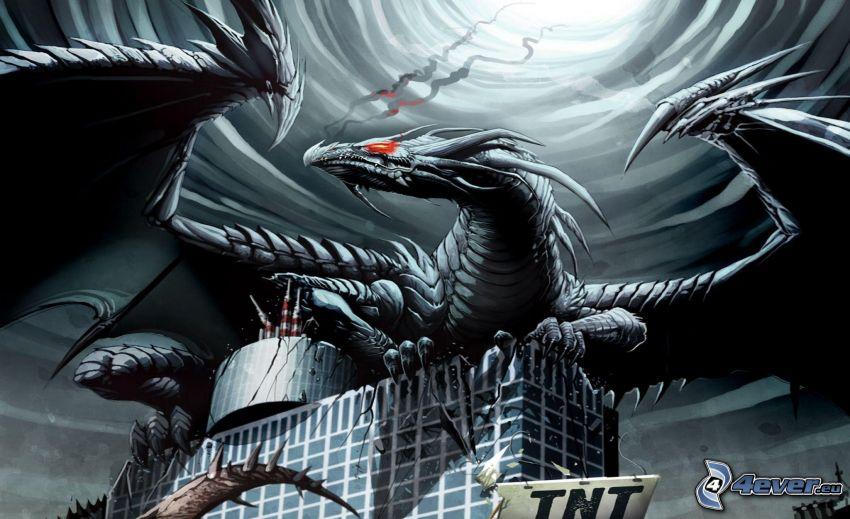 cartoon Drachen, Gebäude