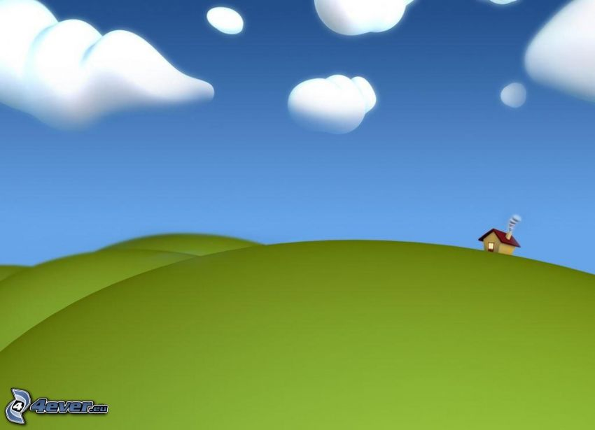 Cartoon-Haus, Hügel, Wolken