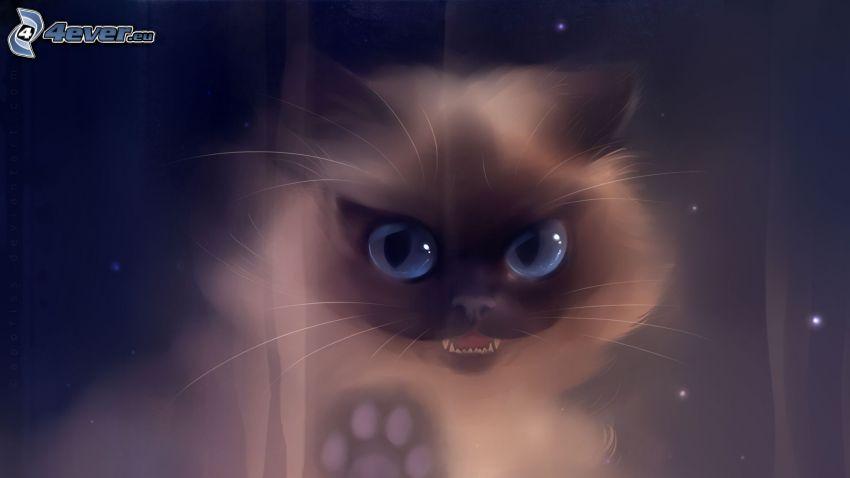 cartoon-Katze, blaue Augen