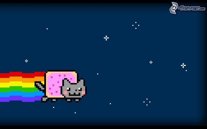 cartoon-Katze, Regenbogen