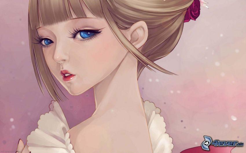Cartoon-Mädchen, blaue Augen
