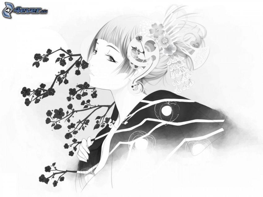 Cartoon-Mädchen, Blumen