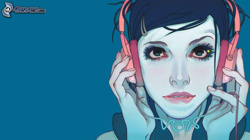 Cartoon-Mädchen, Mädchen mit Kopfhörern