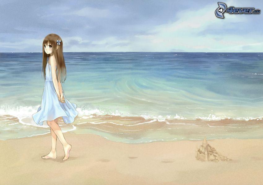 Cartoon-Mädchen, Meer, Strand