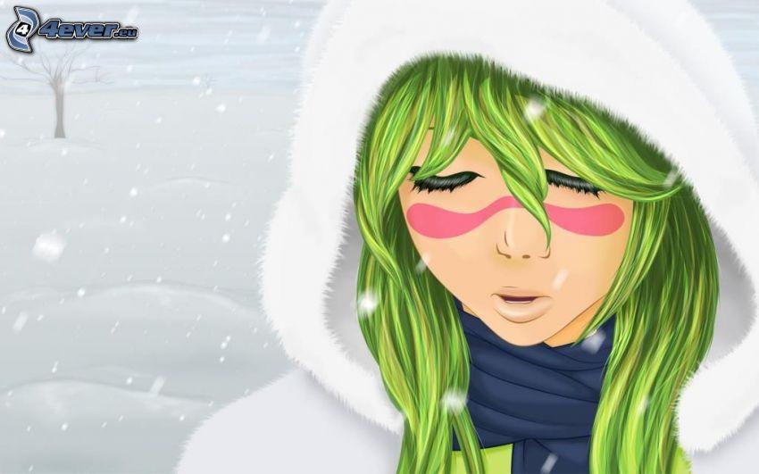 Mädchen mit grünen haaren