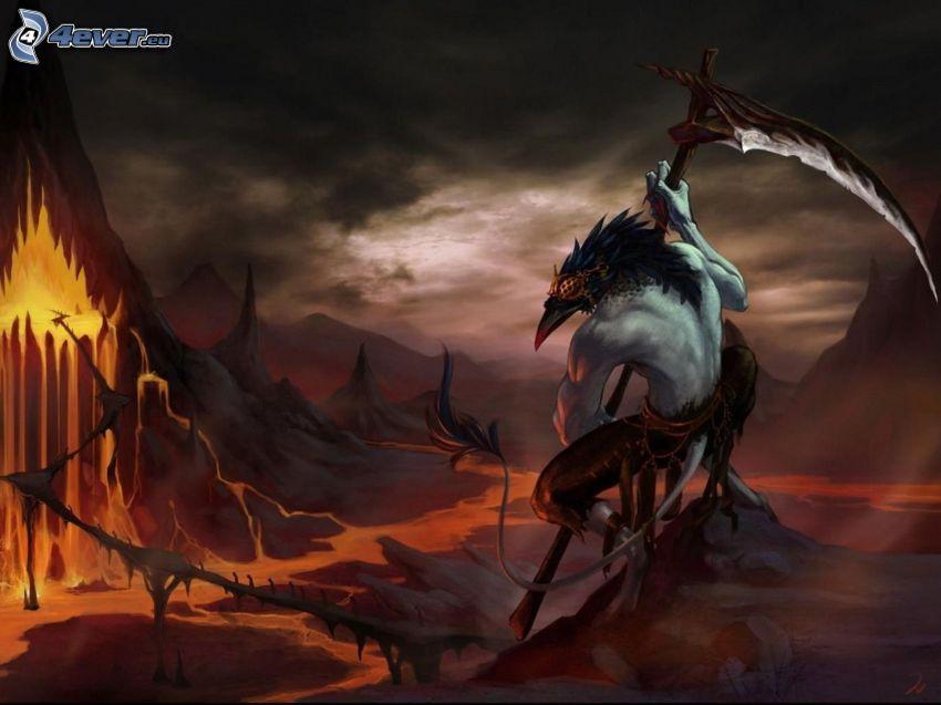 Dämon, Sense, höllische Landschaft