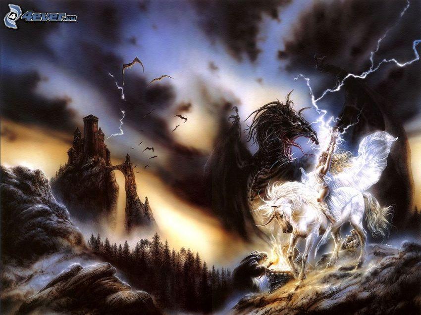 drache vs einhorn, Kämpferin, Blitz, Fledermäuse, Felsen, Burg, Luis Royo