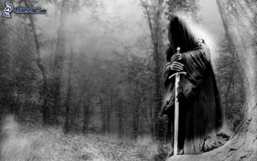 dunkel Sensenmann, Wald, Schwert