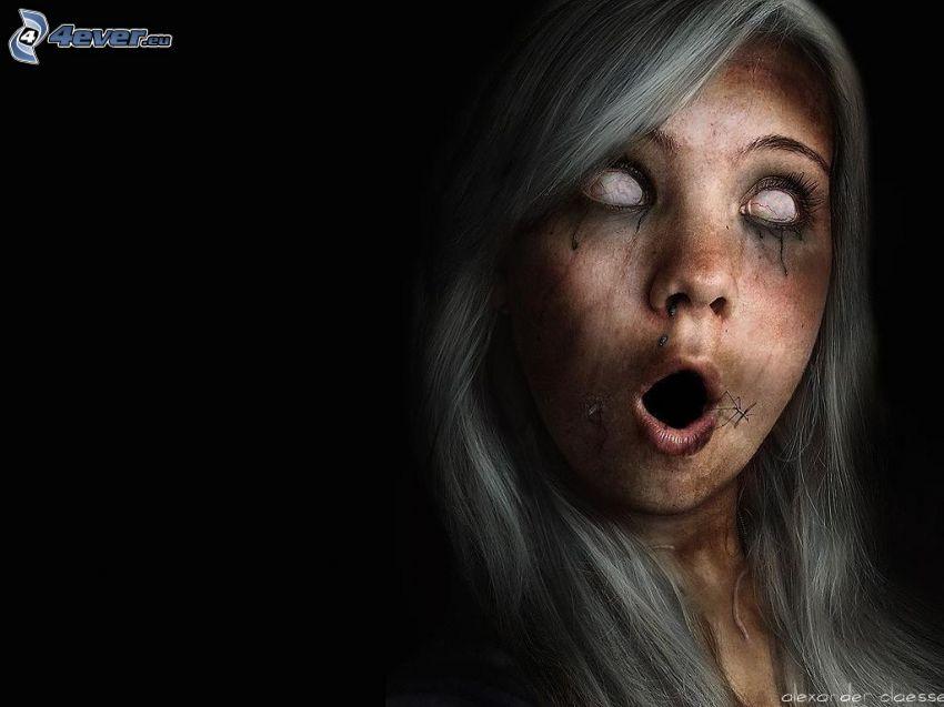 dunkles Mädchen, zombie, graue Haare