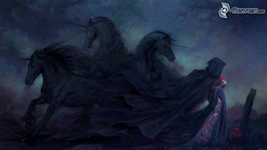 Einhörner, dunkle Frau