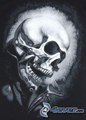 Ghost Rider, schwarzweiß, Schädel