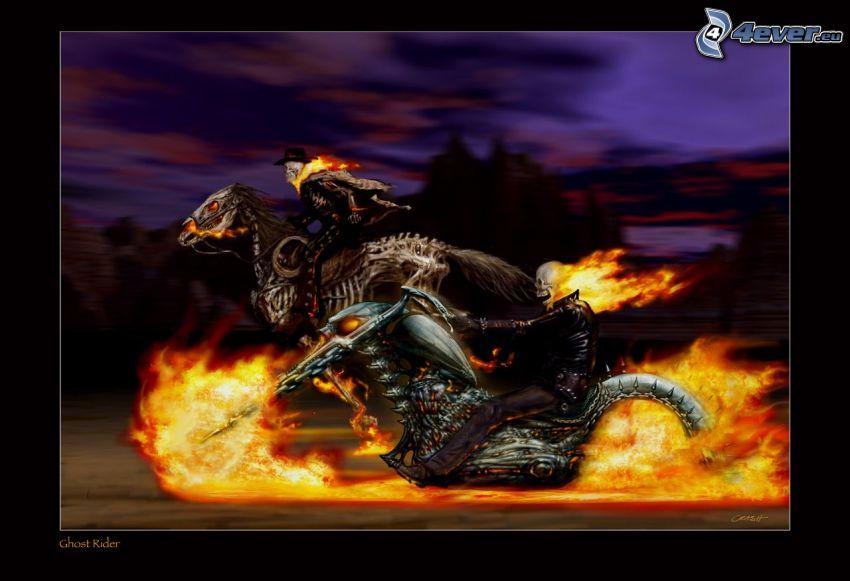 Ghost Rider, Sensenmann, Feuer, Rennen, Skelett, Pferd