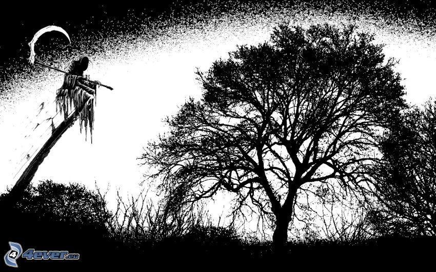 Grim Reaper, Sensenmann, Sense, Tod, weitausladender Baum