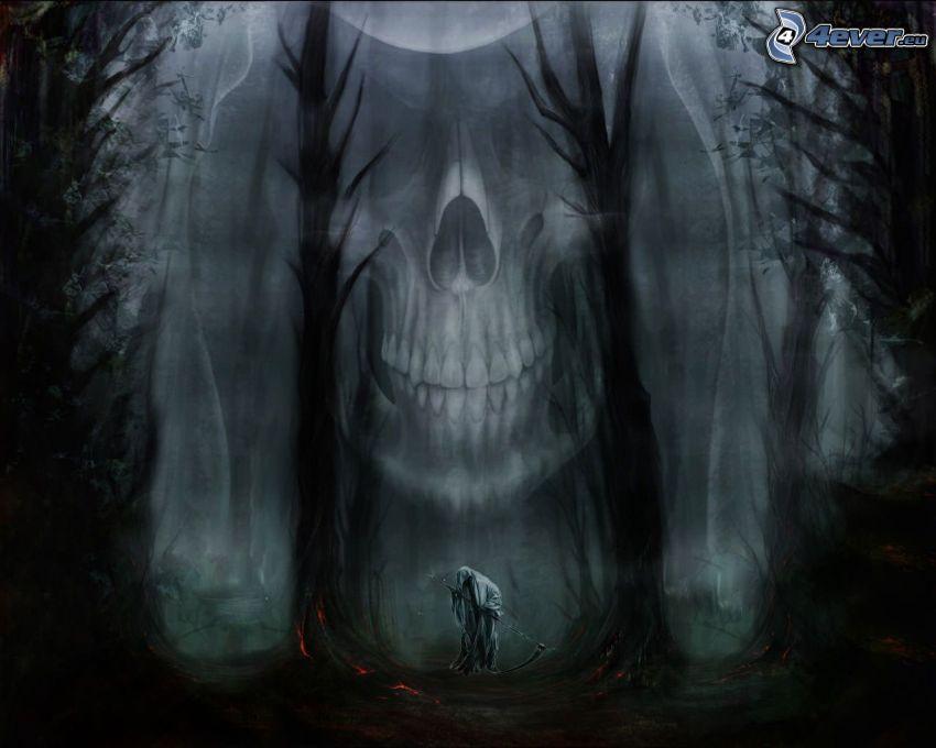 Sensenmann, Schädel, dunkler Wald