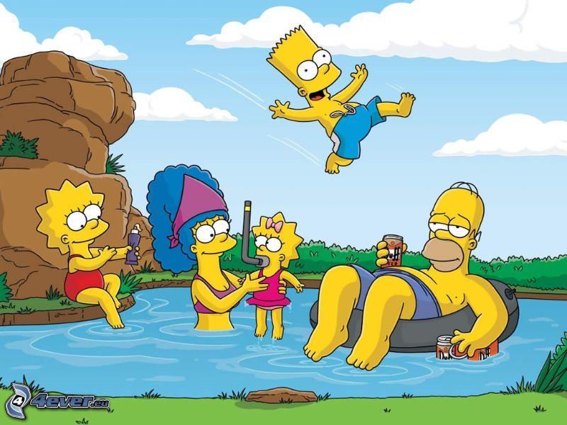 Die Simpsons, Schwimmbad, Lisa Simpson, Marge Simpson, Maggie Simpson, Bart Simpson, Homer Simpson