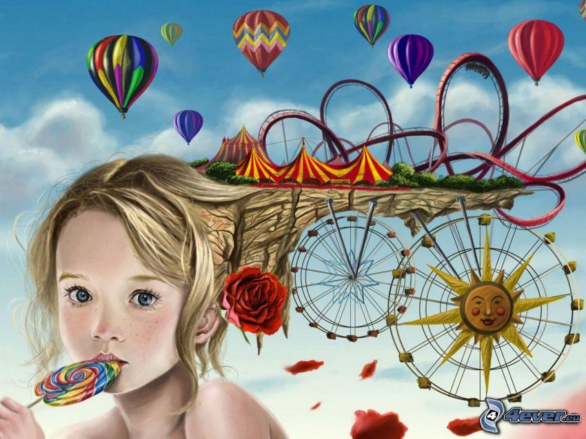 Achterbahn, Mädchen, Luftballons