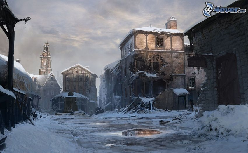 alte Gebäude, Schnee