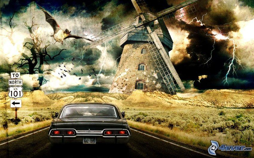 altes Auto, Windmühle, Blitze