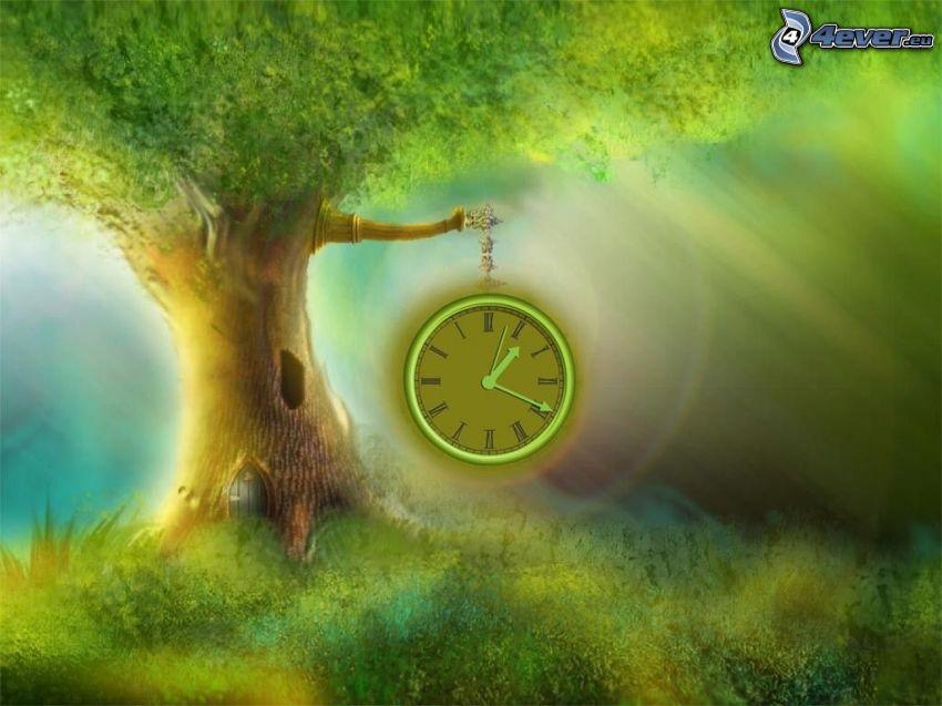 Analoguhr auf, mächtiger Baum, Siedlung, Grün