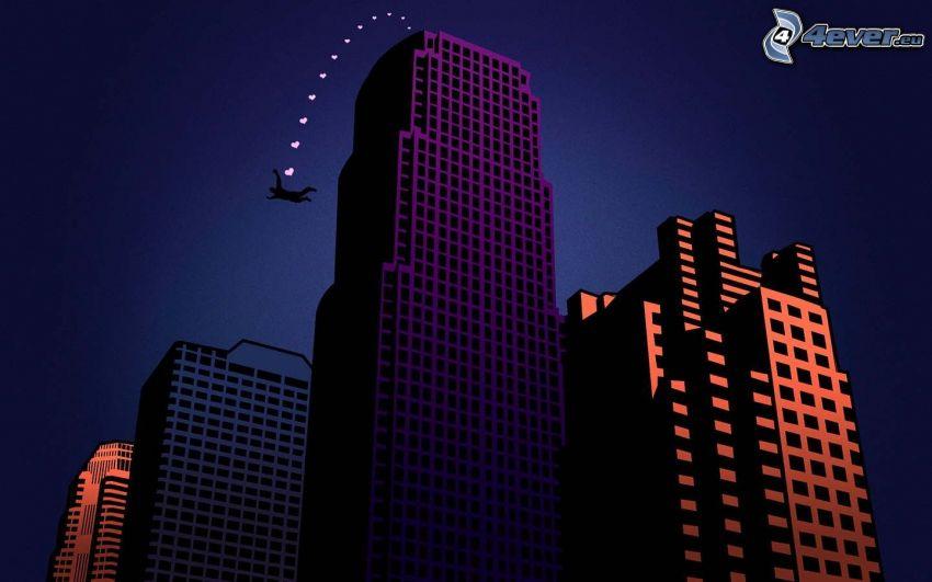 BASE Jump, Silhouette eines Mannes, Sprung, Wolkenkratzer
