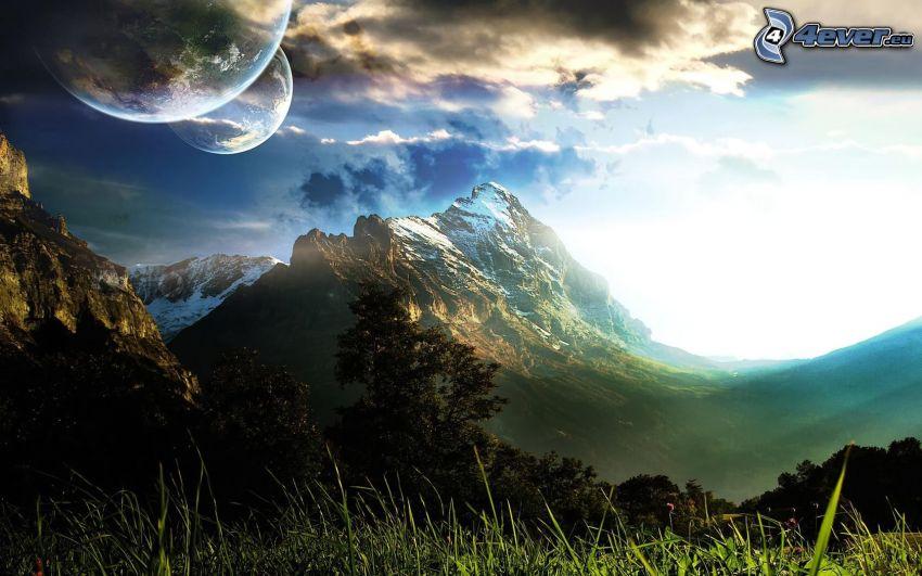 Berge, Mond