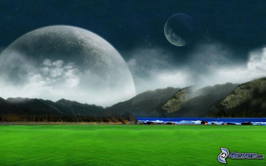 Berge, Wiese, Mond, Fantasy