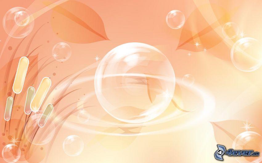 Blasen, Rohrkolbengewächse, orange Hintergrund