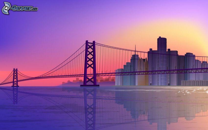 Brücke, Wolkenkratzer, Meer