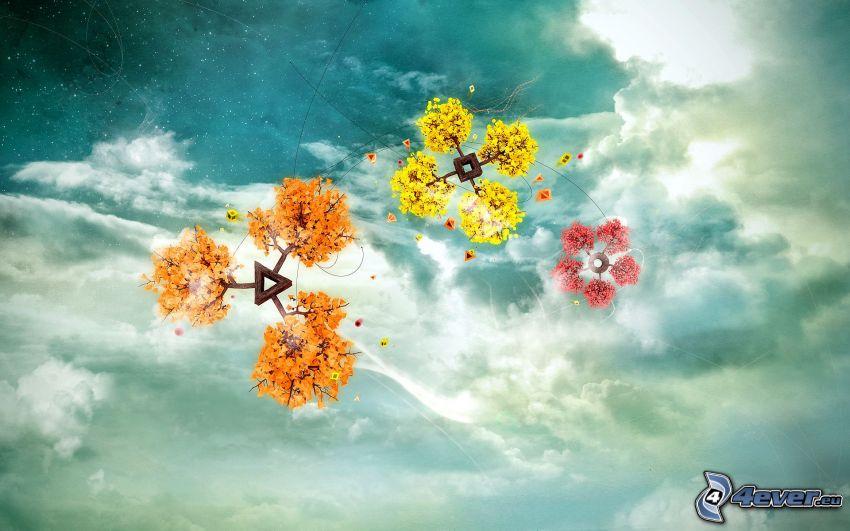 bunte Bäume, Blumen, Himmel