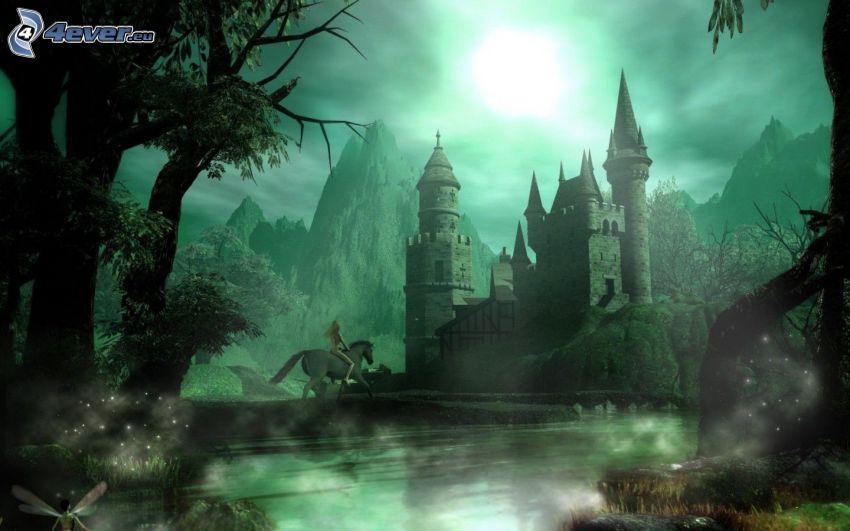 Burg, Ritter, Mond, Berge, Nacht