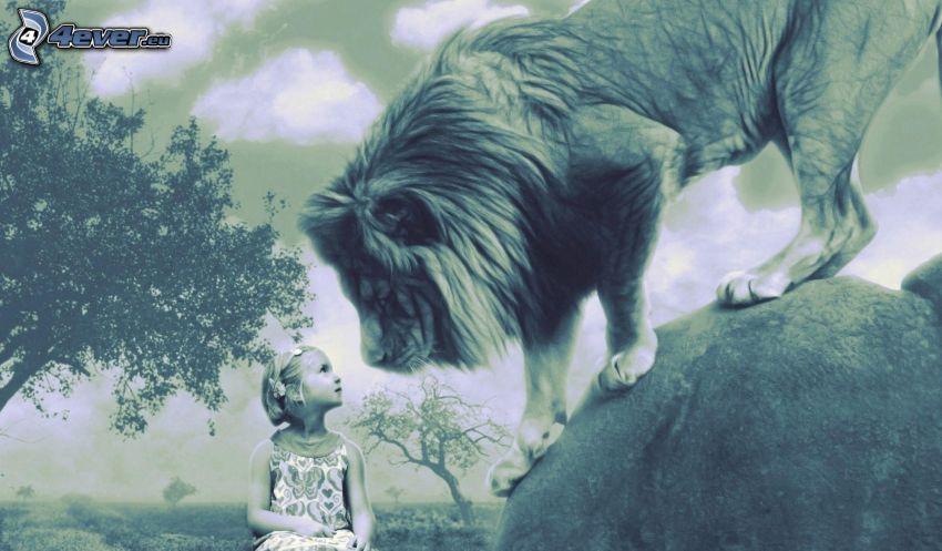 cartoon-Löwe, Mädchen, schwarzweiß