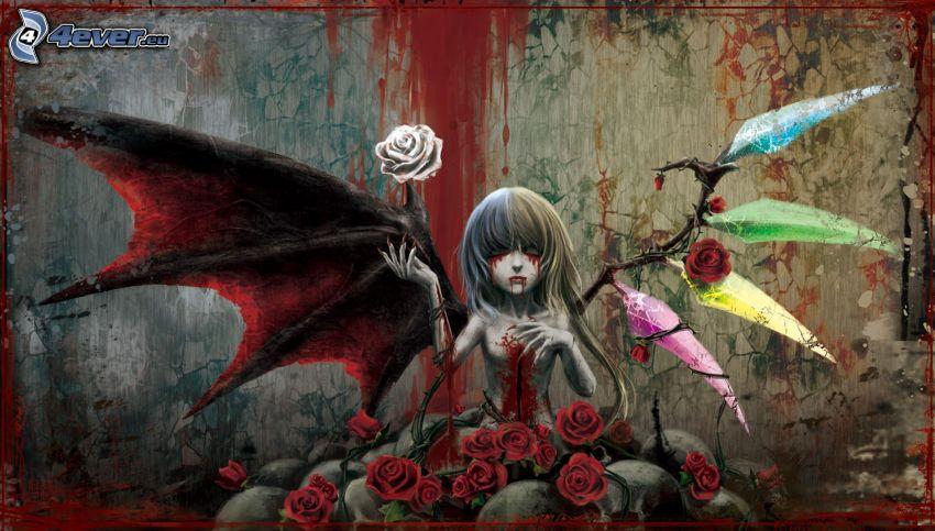 Cartoon-Mädchen, rote Rosen