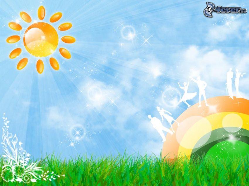 cartoon Sonne, Hintergrund, Gras