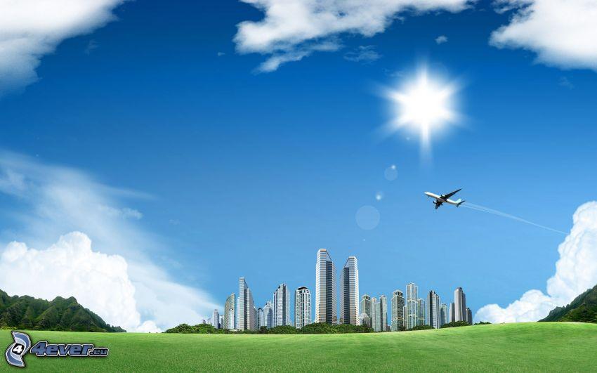 City, Flugzeug, Sonne, grüne Wiese