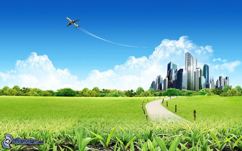 City, Flugzeug, Wiese, kondensstreifen