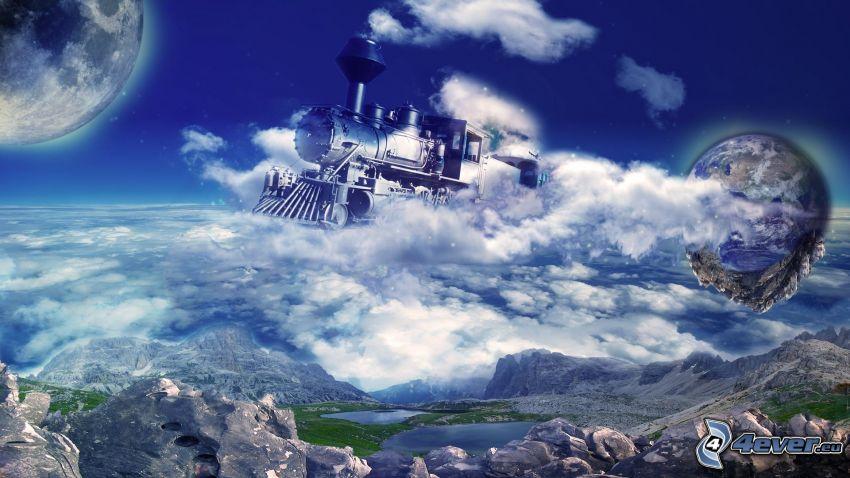 Dampflokomotive, Wolken, Erde, Mond