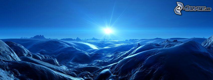 Digitale Berglandschaft, Sonne